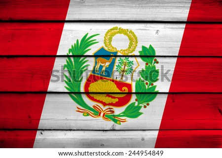 Peru Flag on wood background - stock photo