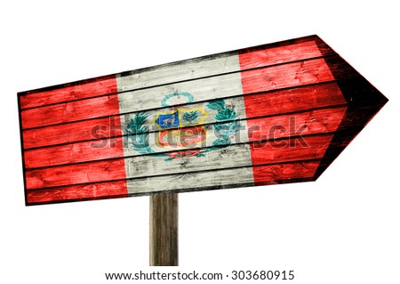 Peru Flag on wooden table sign isolated on white - stock photo
