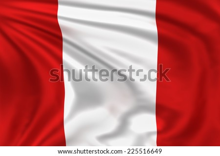 Peru flag waving in the wind. High quality illustration.  - stock photo