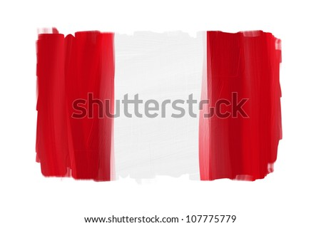 Peru hand painted national flag isolated on white