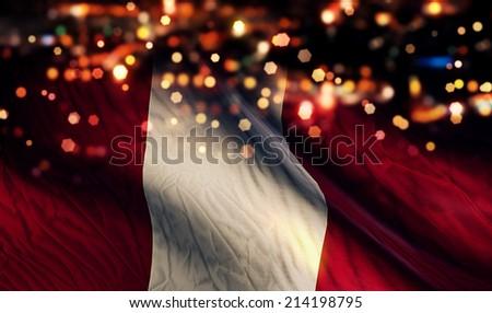 Peru National Flag Light Night Bokeh Abstract Background - stock photo
