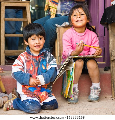PERU - NOVEMBER 3, 2010: Three undentified children play in their father shop in Peru, Nov 3, 2010. Over 50 per cent of people in Peru live below the the poverty line. - stock photo