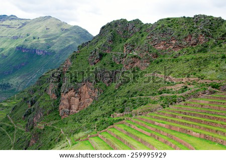 Peru, Pisac - Inca ruins in the sacred valley in the Peruvian Andes. - stock photo