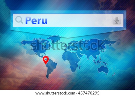 Peru, place on the world map. Red pin mark location Peru on the global map. Colourful design world map.