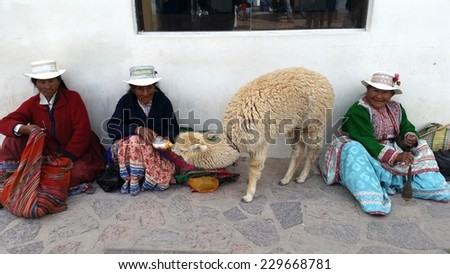 PERU - SEP 13 -2014: Unidentified Peruvian women in traditional colorful clothes sits with her lama - stock photo