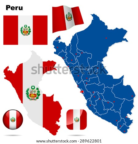 Peru set. Detailed country shape with region borders, flags and icons isolated on white background. - stock photo