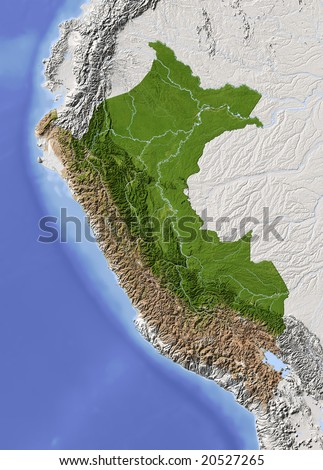Peru. Shaded relief map. Surrounding territory greyed out. Colored according to vegetation. Includes clip path for the state area. Data source: NASA
