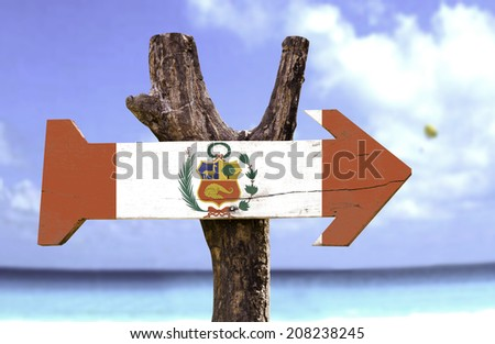 Peru wooden sign with a beach on background  - stock photo