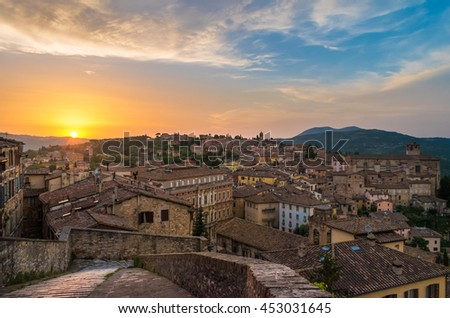 Perugia, an awesome medieval city, capital of Umbria region, central Italy - Sunset