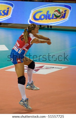 PERUGIA - APRIL 22: volleyball player Francesca Piccinini, play-off, quarter final, game 1, A1 league at PalaEvangelisti on April 22, 2010 in Perugia, Italy - stock photo