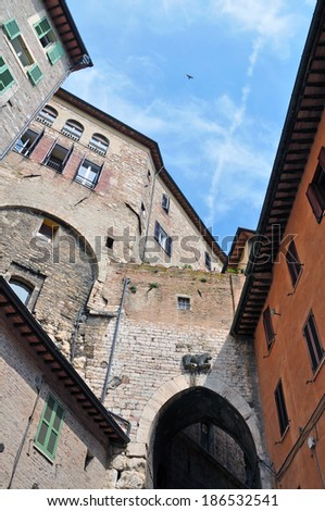 PERUGIA, ITALY- APRIL 22: Bird and airplane trace on April 22, 2011 in Perugia, Italy. Perugia hosts Jazz, Chocolate and Journalism festivals attracting many tourists each year. - stock photo