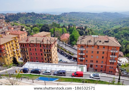 PERUGIA, ITALY- APRIL 22: Panoramic view of the town on April 22, 2011 in Perugia, Italy. Perugia hosts Jazz, Chocolate and Journalism festivals attracting many tourists each year. - stock photo
