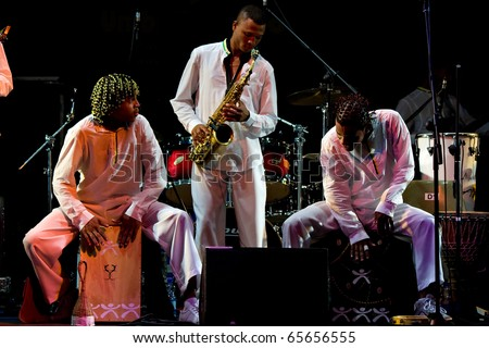 PERUGIA, ITALY - JULY 12: Projecto Axe' (music, dance and capoeira) from Brazil on stage at Umbria Jazz Festival - July 12, 2010 in Perugia, Italy - stock photo
