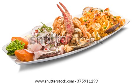 PERUVIAN CEBICHE AND SEAFOOD RICE DISH - stock photo