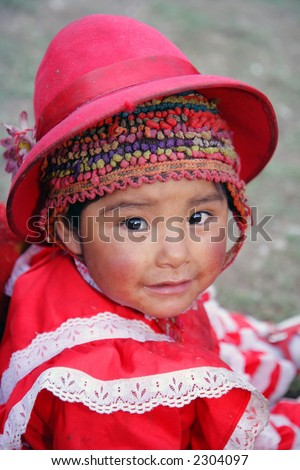 Peruvian child in traditional dress.