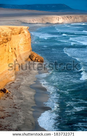 Peruvian Coastline, Rock formations at the coast, Paracas National Reserve, Paracas, Ica Region, Peru - stock photo
