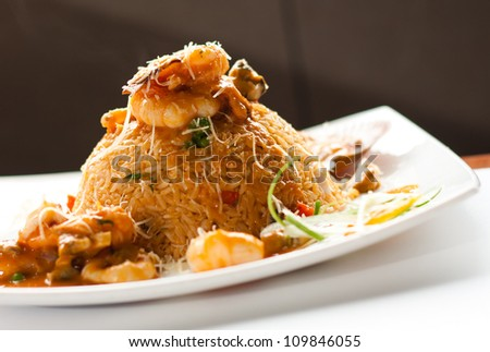 peruvian cuisine,  seafood rice, arroz - stock photo