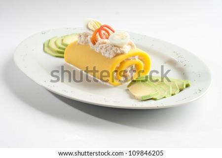 PERUVIAN culinary: causa rellena. Potatos dough - stock photo