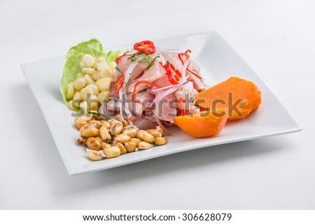 Peruvian fish ceviche. - stock photo