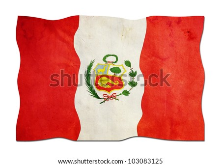 Peruvian Flag made of Paper - stock photo
