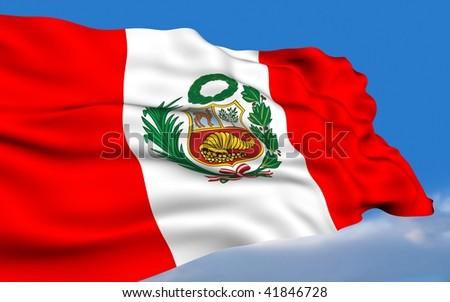 Peruvian Flag waving on wind. - stock photo