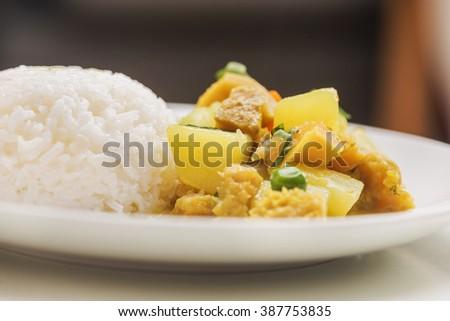 Peruvian food: Cau cau de Mondongo. - stock photo