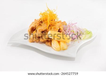 Peruvian food: Chicharrones of fish meal. - stock photo
