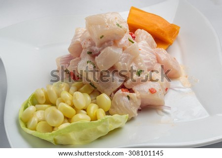 Fish ceviche stock images royalty free images vectors for Art of peruvian cuisine