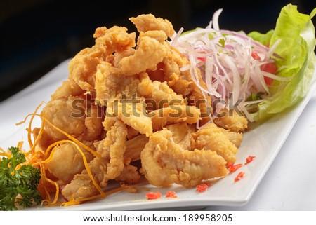 PERUVIAN FOOD: fried FISH MEAL CHICHARRON - stock photo