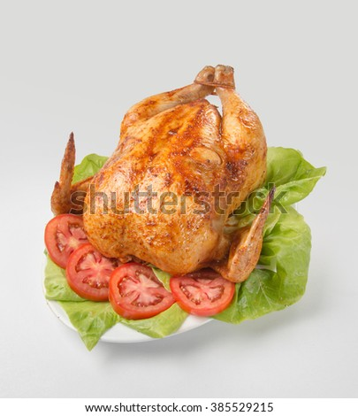Peruvian food: Pollo a la brasa. Roast chicken. - stock photo