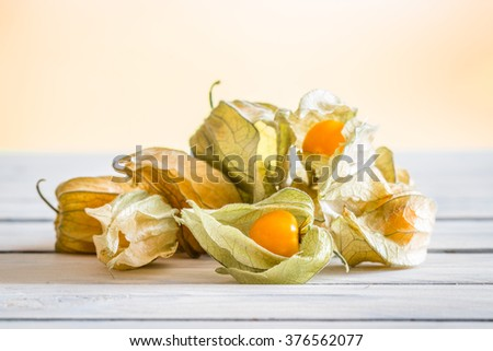 Peruvian ground cherries on a wooden table