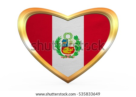 Peruvian national official flag. Patriotic symbol, banner, element, background. Correct colors. Flag of Peru in heart shape isolated on white background. Golden frame, fabric texture. 3D illustration