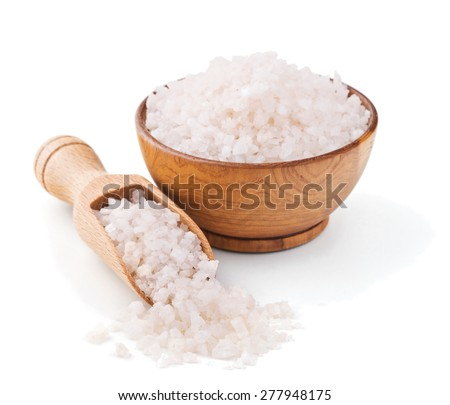 Peruvian pink salt in a wooden bowl isolated on white background - stock photo