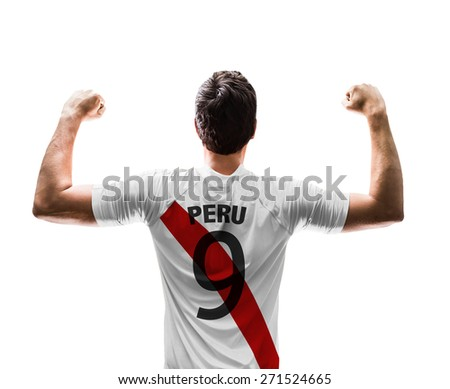 Peruvian soccer player on white background - stock photo