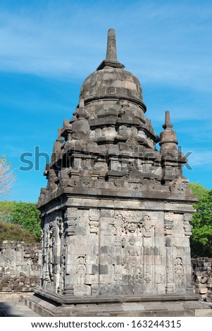 Perwara (guardian) temple in Candi Sewu complex. Candi Sewu means 1000 temples, which links it to the legend of Loro Djonggrang. Java, Indonesia.