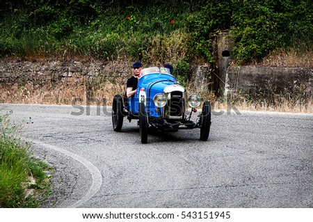 PESARO, ITALY - MAY 15:  AMILCAR CGSs spider 1926 old racing car in rally Mille Miglia 2015 the famous italian historical race (1927-1957) on May 15 2015