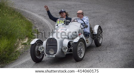 PESARO, ITALY - MAY 15: BENEDETTI Giannini 750 Sport 1948 old racing car in rally Mille Miglia 2015 the famous italian historical race (1927-1957) on May 2015