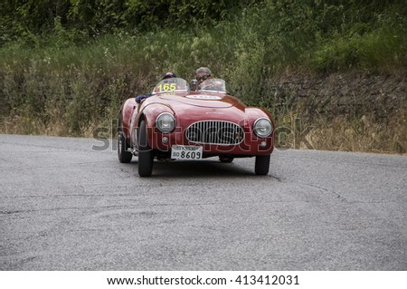 PESARO, ITALY - MAY 15: CISITALIA Colombo Barchetta 1948 old racing car in rally Mille Miglia 2015 the famous italian historical race (1927-1957) on May 2015