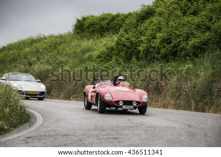 PESARO, ITALY - MAY 15:FERRARI 750 Monza Spider Scaglietti 1955    on an old racing car in rally Mille Miglia 2015 the famous italian historical race (1927-1957) on May 2015