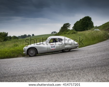 PESARO, ITALY - MAY 15:FIAT 8V berlinetta 1954  old racing car in rally Mille Miglia 2015 the famous italian historical race (1927-1957) on May 2015