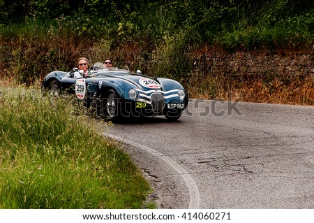 PESARO, ITALY - MAY 15:JAGUAR C-Type 1953  old racing car in rally Mille Miglia 2015 the famous italian historical race (1927-1957) on May 2015