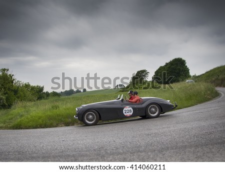 PESARO, ITALY - MAY 15: JAGUAR XK 120 OTS Roadster 1951 old racing car in rally Mille Miglia 2015 the famous italian historical race (1927-1957) on May 2015