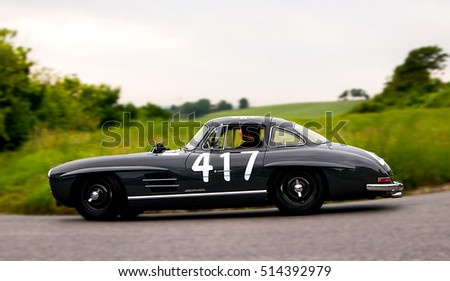 PESARO, ITALY - MAY 15: MERCEDES BENZ 300 SL Coupe W 198 1956 on an old racing car in rally Mille Miglia 2015 the famous italian historical race (1927-1957) on May 15 2015