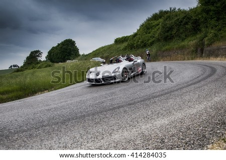 PESARO, ITALY - MAY 15:Mercedes-Benz SLR McLaren  old racing car in rally Mille Miglia 2015 the famous italian historical race (1927-1957) on May 2015