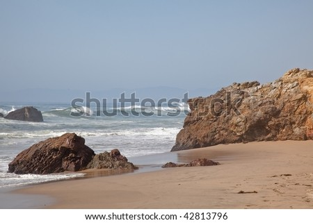 Pescadero State Beach is a beach located 14.5 miles south of Half Moon Bay and 1.5 miles east of Pescadero off State Route 1 - stock photo