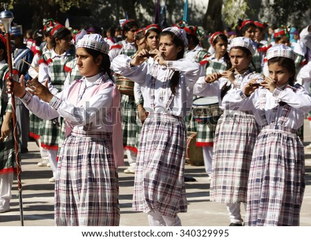 PESHAWAR, PAKISTAN - NOV 17: Students are participating in annual Sports Gala organized by Government of Khyber Pakhtunkhwa on November 17, 2015 in Peshawar.