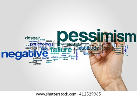 Pessimism word cloud concept with negative attitude related tags - stock photo