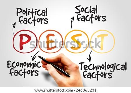 PEST Analysis Strategy for Business / Presentation / Website / Seminar - stock photo
