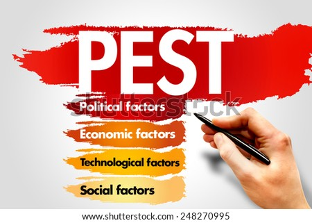 PEST Business analysis, business concept - stock photo