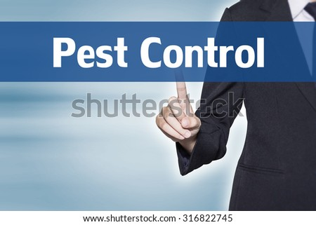 Pest Control Business woman pointing at word for business background concept - stock photo